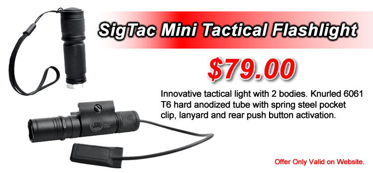 SigTac Mini Tactical Flashlight - Innovative tactical light with 2 bodies. - $79.00