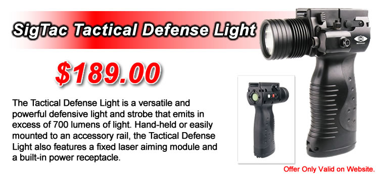 SigTac Tactical Defense Light - Emits in excess of 700 lumens of light. - $189.00