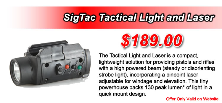 SigTac Tactical Light and Laser - This tiny powerhouse packs 130 peak lumen. - $189.00
